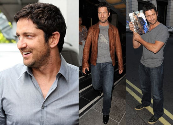 Photos of Gerard Butler in London Confirming He Doesn't Have a Girlfriend, Denying Jennifer Aniston Rumour, Promoting Ugly Truth