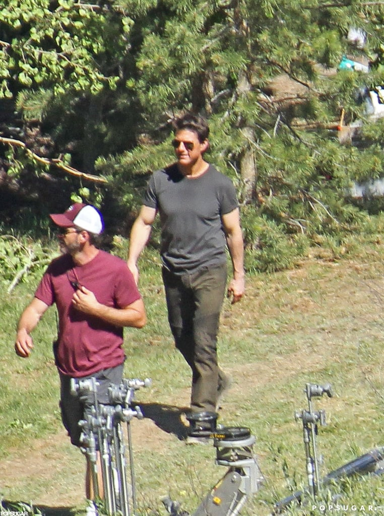 Tom Cruise had a big smile on the Oblivion set in CA.
