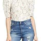 WAYF Shoshanna Puff-Sleeve Lace Top
