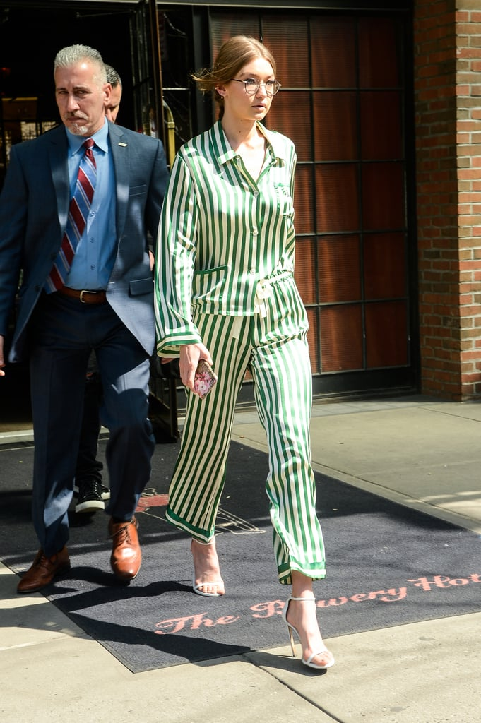 Gigi Hadid skipped her usual sexy lingerie look for a relaxed, yet stylish pair of Morgan Lane striped PJs. She wore the look with heels to give it a daytime feel.