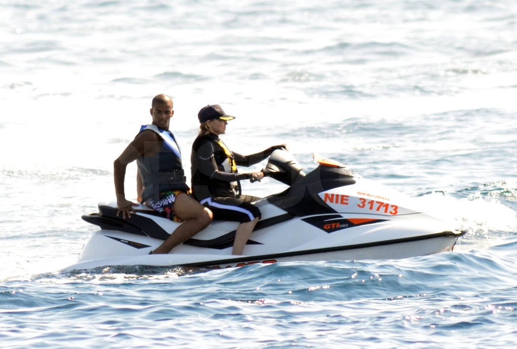 Madonna took control of the jet ski while Brahim sat on the back.