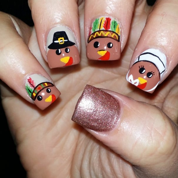 Cartoon Cuties Thanksgiving Nail Art Ideas Popsugar Beauty Photo 6