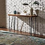 Rivet Hairpin Wood Tall Console Bar Table