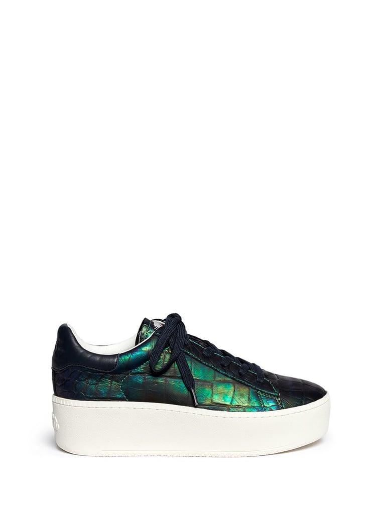 73e9dc3bd Ash Cult Holographic Croc Effect Leather Platform Sneakers ($260 ...