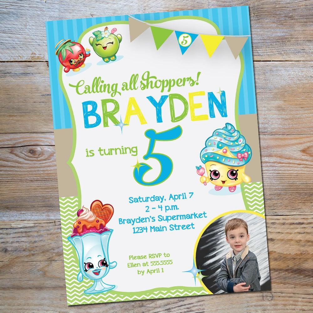 Shopkins birthday boy invitation 10 Shopkins Birthday Party