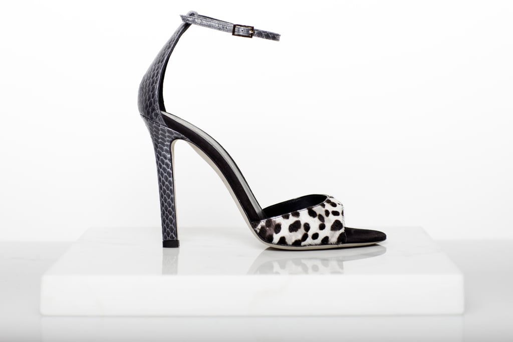 Wild Night Pony Sandal in Grey Leopard With Charcoal Snake Trim ($750) Photo courtesy of Tamara Mellon