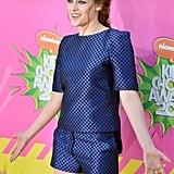 Kristen Stewart hit the orange carpet at the Kids' Choice Awards in LA.