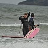 Prince Harry was suited up in a wetsuit while enjoying the ocean.