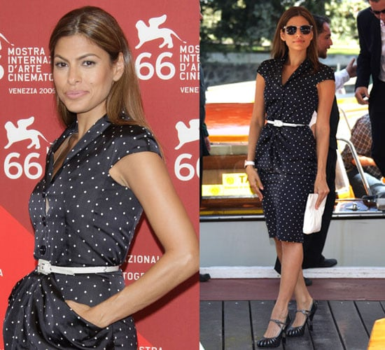 Photo of Eva Mendes Wearing Polka-Dot Dress at Venice International Film Festival