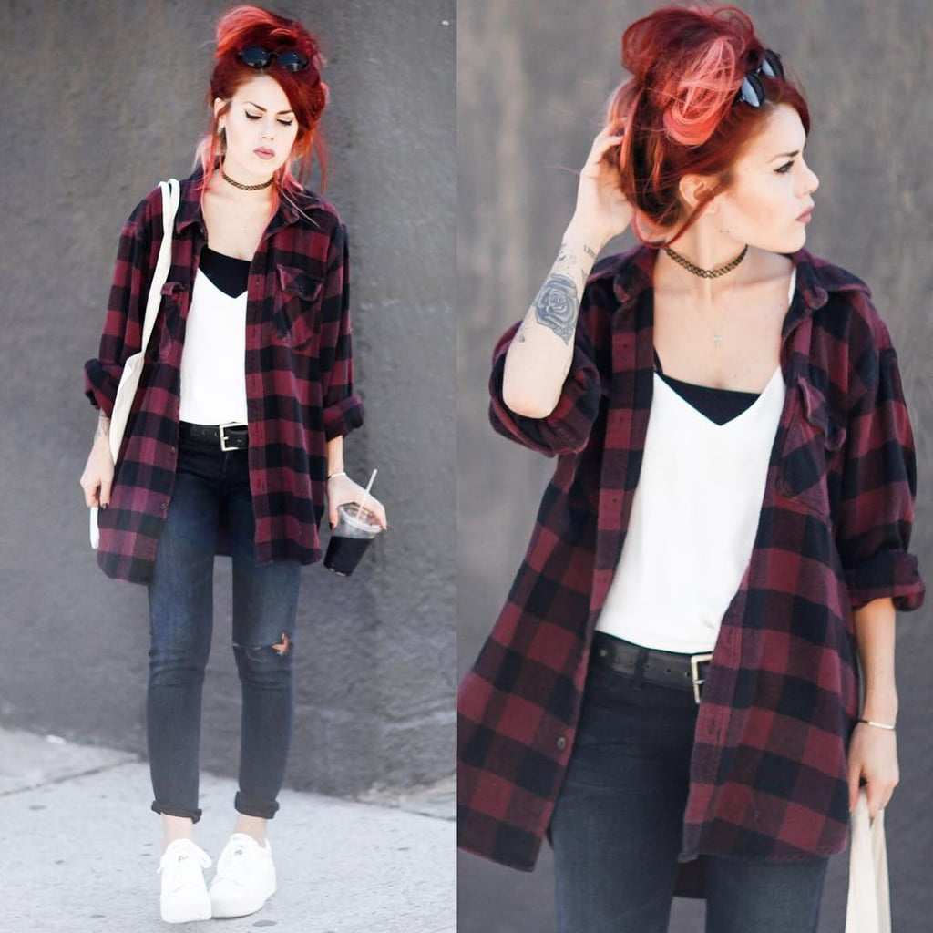 A White and Black Tank or T-Shirt, a Flannel Shirt, Skinny Jeans, and White Sneakers