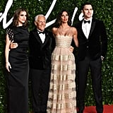 Barbara Palvin, Georgio Armani, Sara Sampaio, and Nicholas Hoult at the British Fashion Awards 2019