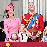 William watched the annual Trooping the Colour parade from the balcony with his family in 2017.