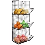 Rustic Brown Metal Wire 3-Tier Wall Mounted Kitchen Bin
