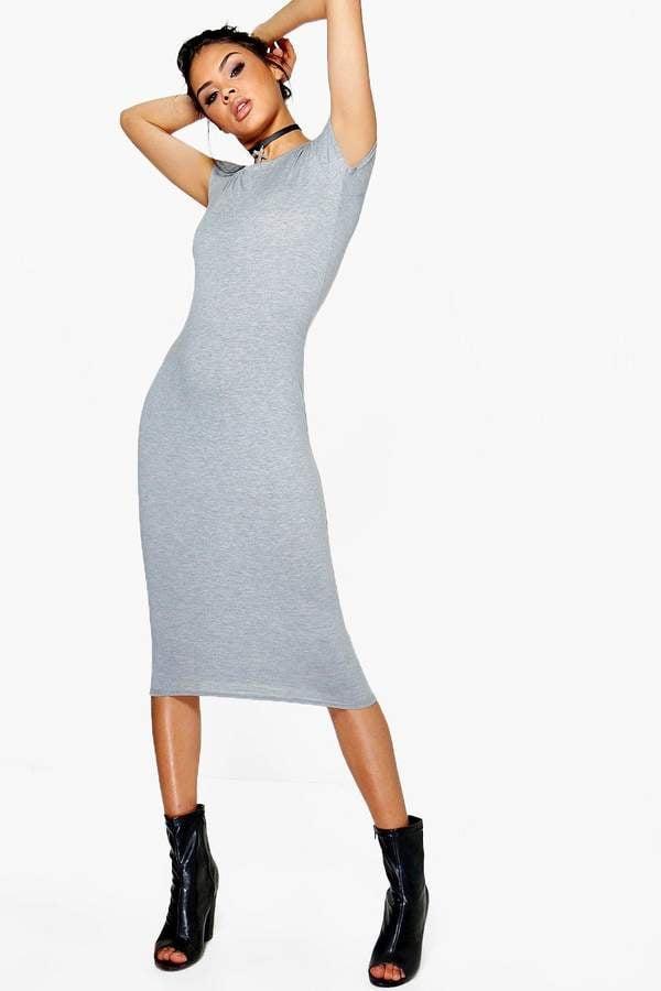 ef4b81da10c5 boohoo Cara Bodycon Midi Dress | Khloe Kardashian Wearing a Bodycon ...