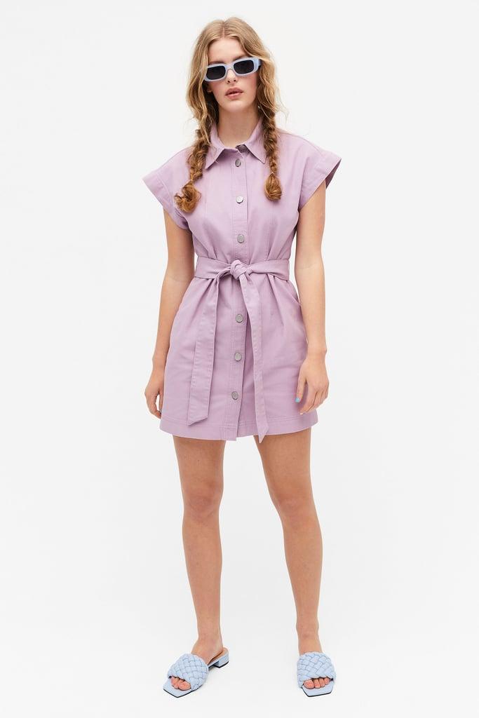 Shop Lilac Dresses: Monki Mini Denim Shirt Dress