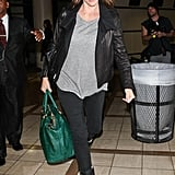 Jennifer Garner carried a green bag through LAX with her.