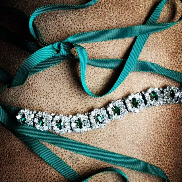 A glimmering vintage emerald ribbon headband ($84) would be the perfect adornment to your holiday updo.