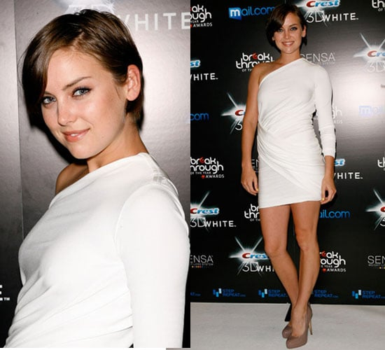 Photos of Jessica Stroup in Rachel Roy White One Sleeve Dress at Breakthrough of The Year Awards in LA 2010-08-16 10:02:04