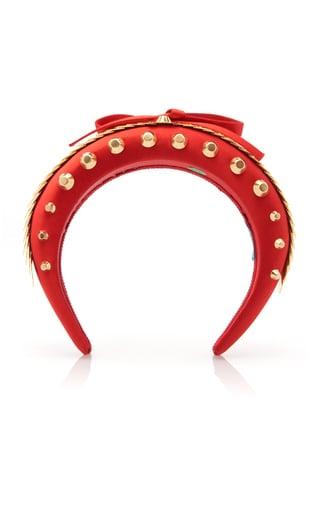 Prada Bow-Detailed Embellished Satin Headband