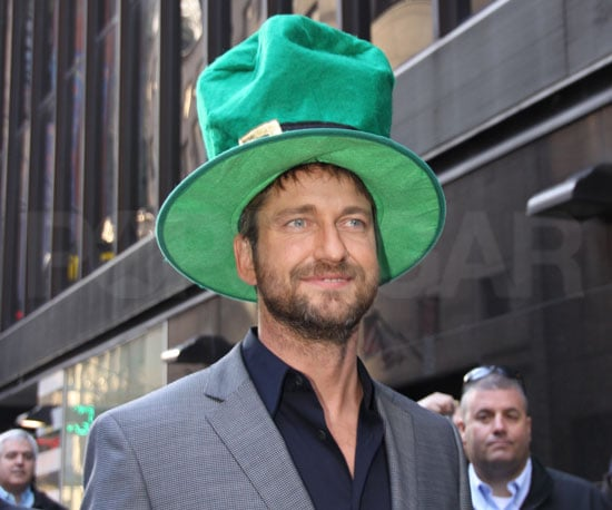 Slide Photo of Gerard Butler Wearing Green for St Patrick's Day