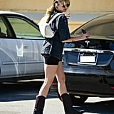 Miley Cyrus Wearing Biker Shorts and Cowboy Boots