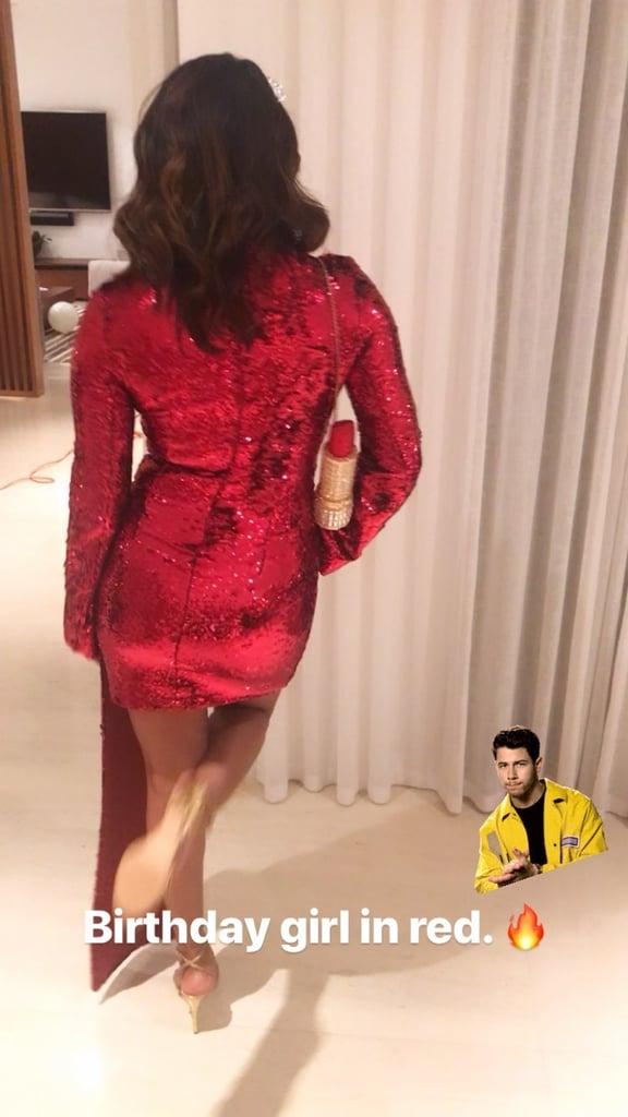 Priyanka Chopra's Red Birthday Dress 2019