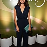 Nikki Reed looked cool in a plunging jumpsuit, a colorblock clutch, and a Gaydamak hand ring at the Variety and Women in Film pre-Emmys event in LA.