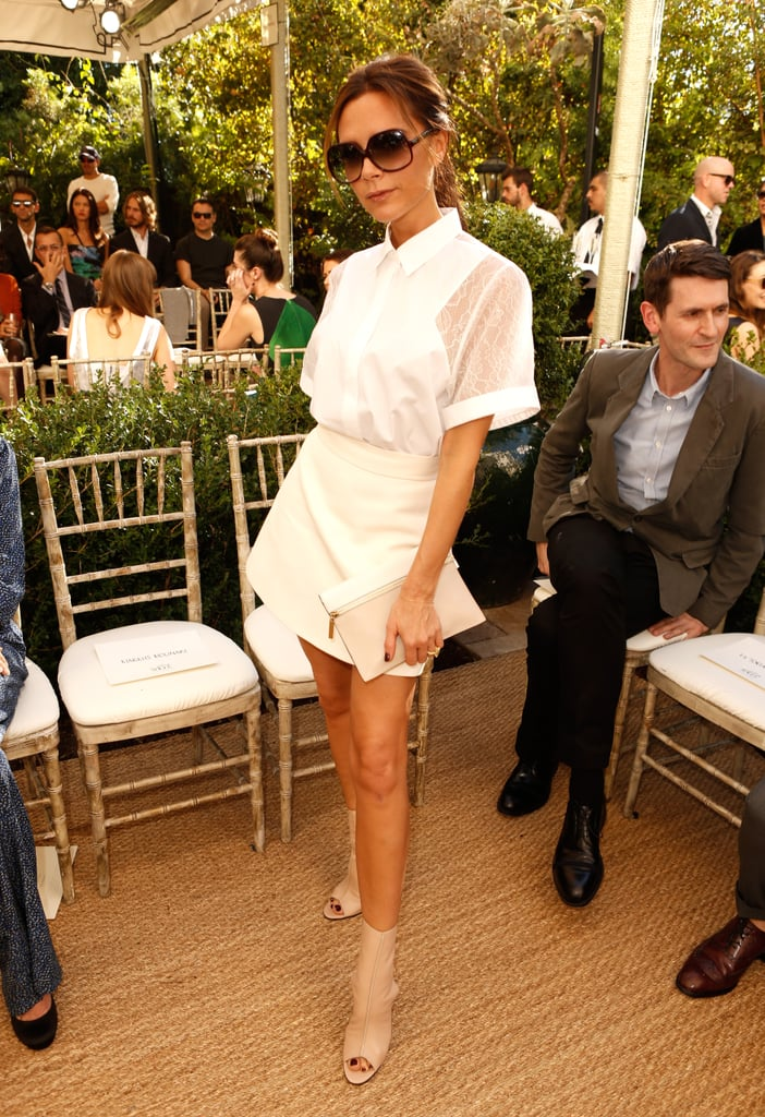 Victoria Beckham showed off her stems in one of her own designs.