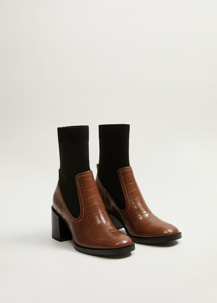 Mango Stretched Contrast Ankle Boots