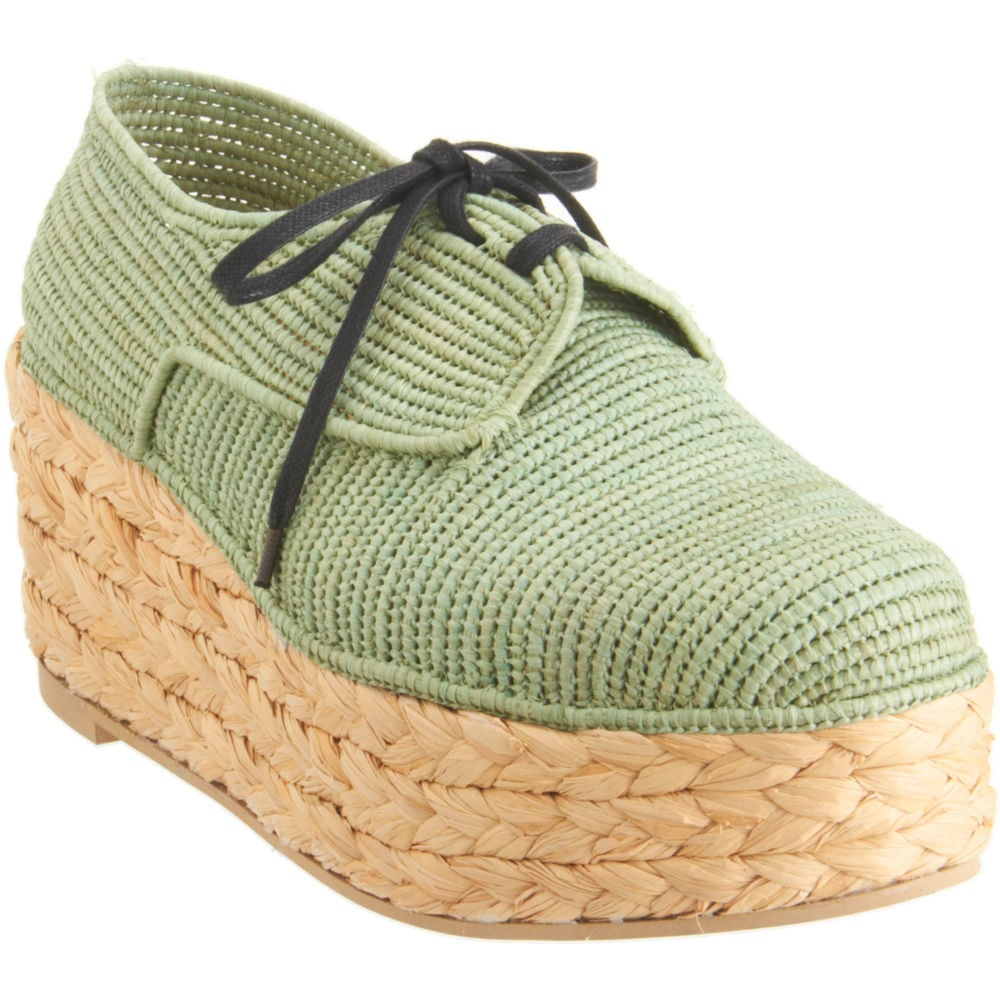 We'd pair these woven sneakers with cuffed denim and a printed blouse.  Carven x Robert Clergerie Woven Espadrille ($560)