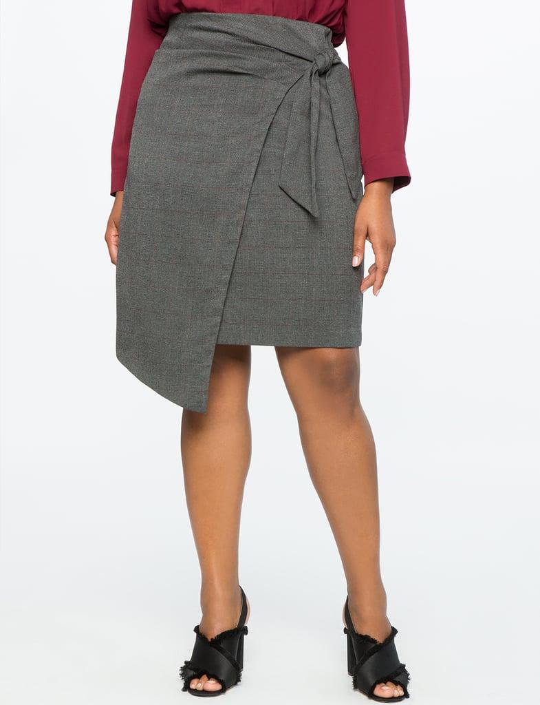 Eloquii Plaid Wrap Front Skirt ($75)
