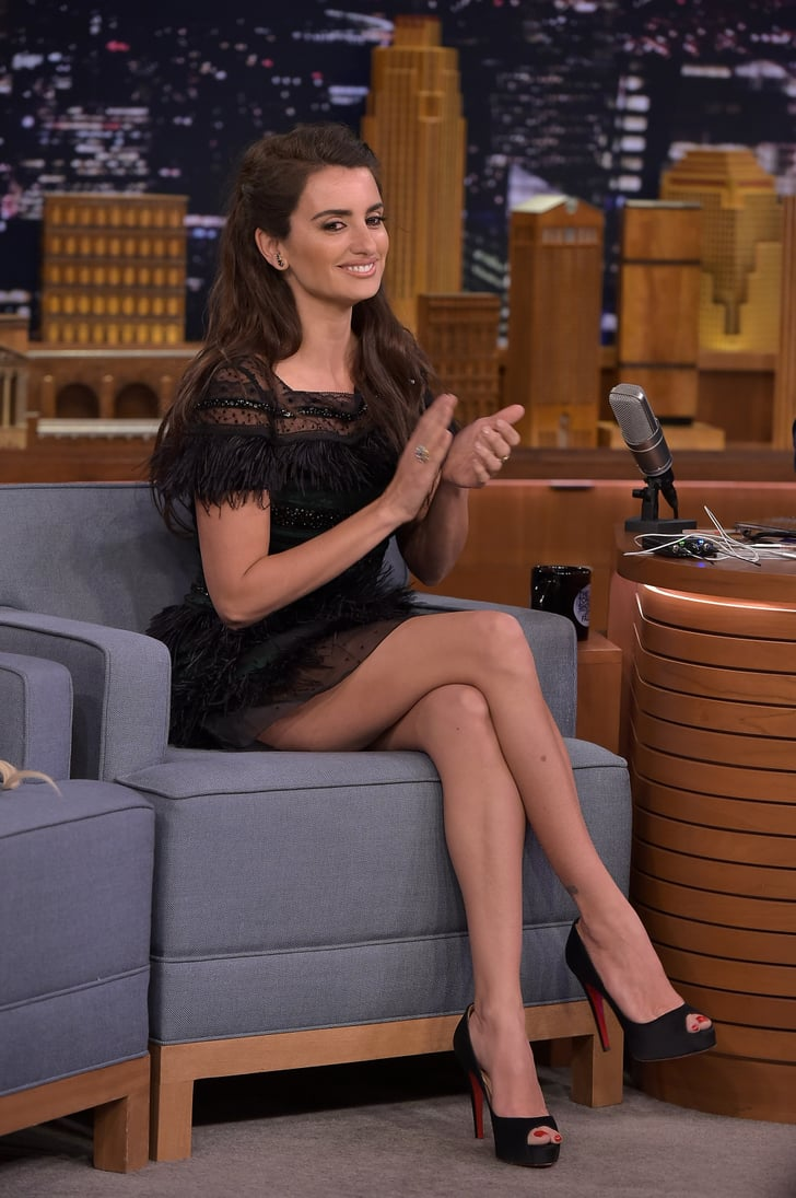 Penelope Cruzs Carolina Herrera Black Dress On Jimmy Fallon  Popsugar Fashion Photo 2-7880