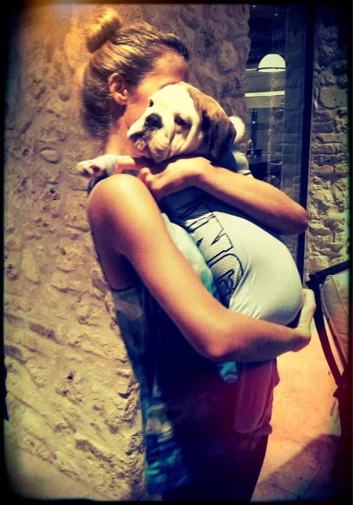 Brooklyn Decker cuddled her dog (after putting him in a onesie). Source: Twitter user BrooklynDecker