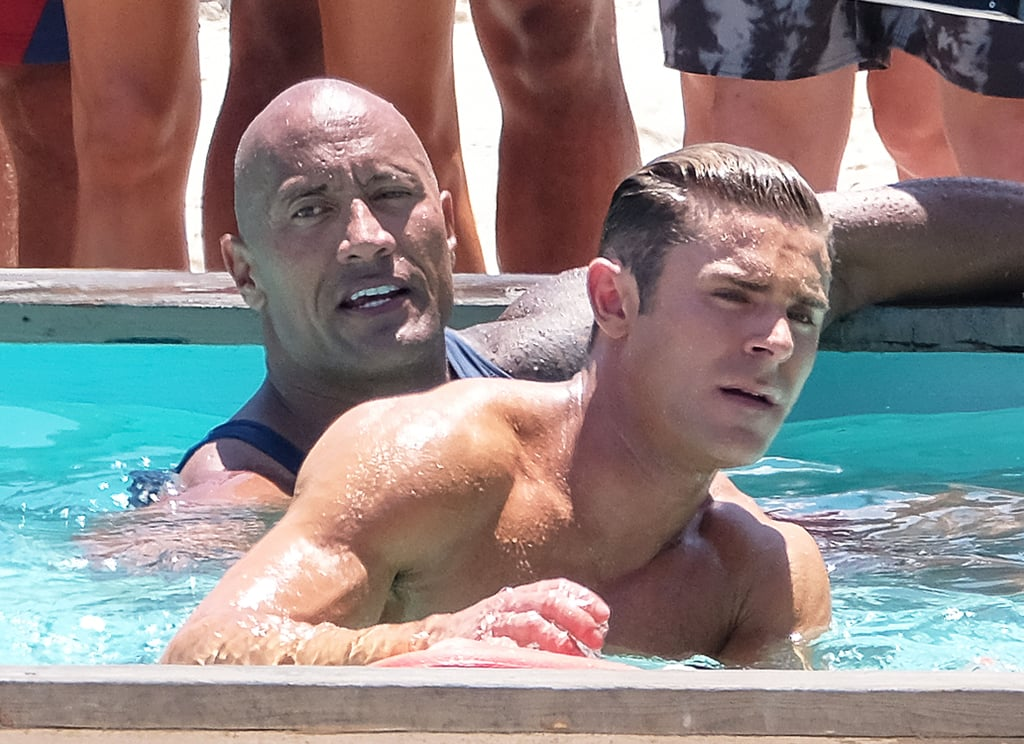Dwayne johnson and zac efron swimming on the set of - The last picture show swimming pool scene ...
