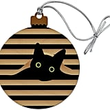 Black Cat in Window Holiday Ornament