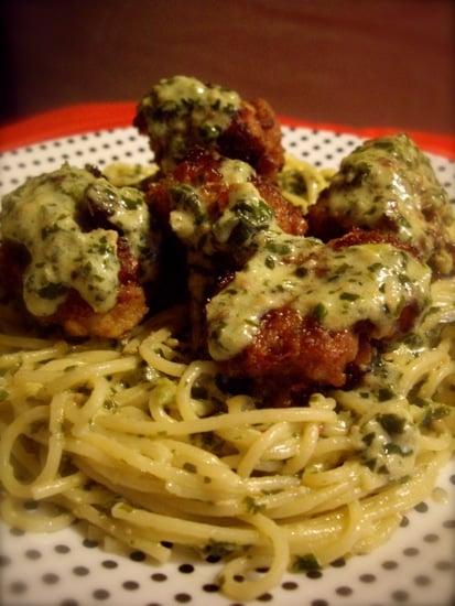 Creamy Pesto Spaghetti with Meatballs