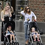 Sarah Jessica Parker took to the sidewalk with her twins.