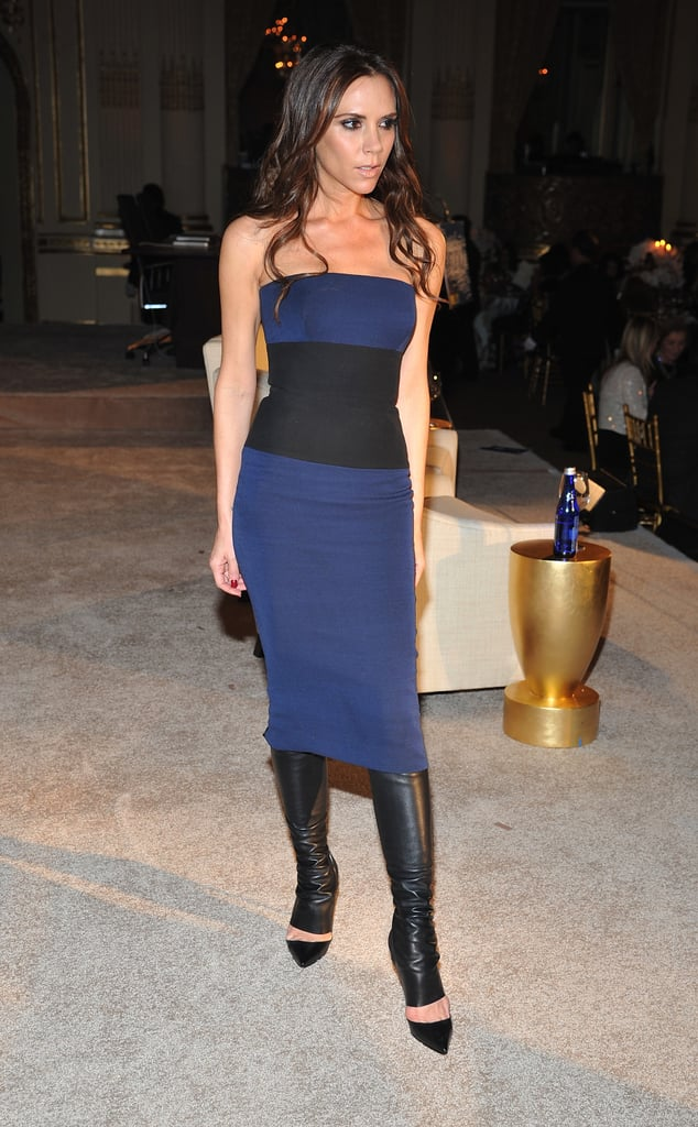 Wearing a Colorblock Strapless Dress With Leather Heels
