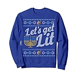 "Funny Ugly Hanukkah Sweater — ""Let's Get Lit"" Menorah Sweatshirt"