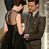 Anne Hathaway received her award from presenter Justin Timberlake.