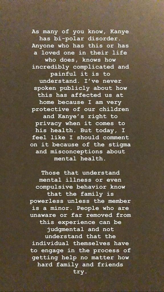 Read Kim Kardashian's Statement About Kanye West's Mental Health