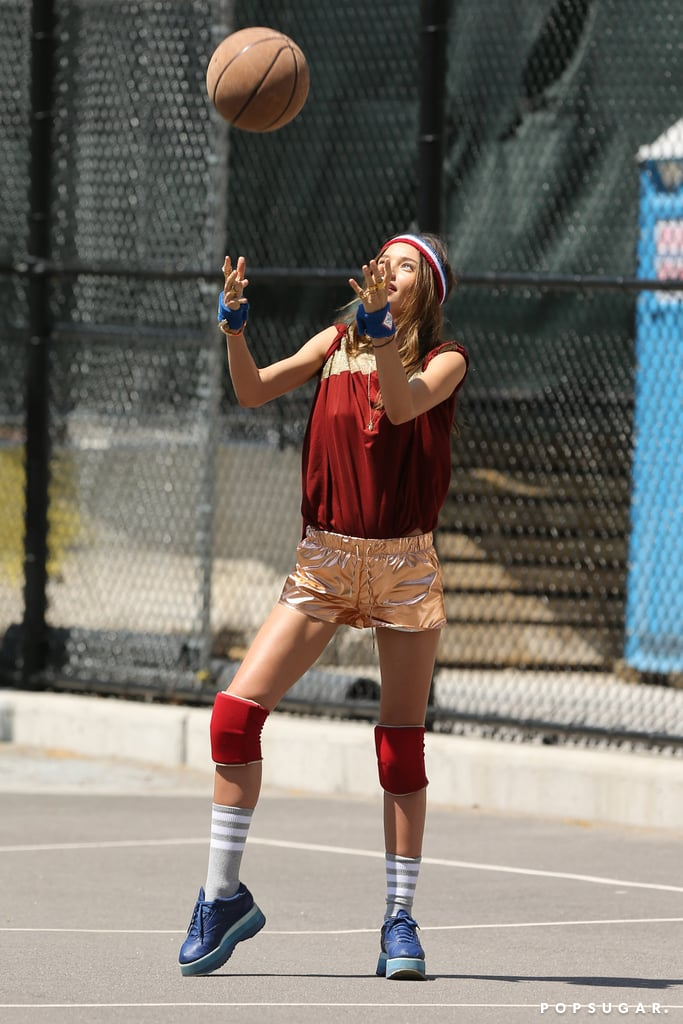 Miranda Kerr played basketball for a photoshoot in NYC.