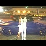 Kim Kardashian and Kayne West dressed in matching white outfits. Source: Instagram user kimkardashian