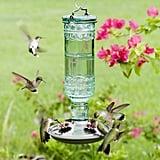 Perky-Pet Green Antique Bottle Decorative Glass Hummingbird Feeder