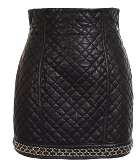Black Quilted Leather Skirt