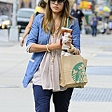 Jessica Alba picked up a few items from Starbucks in NYC.