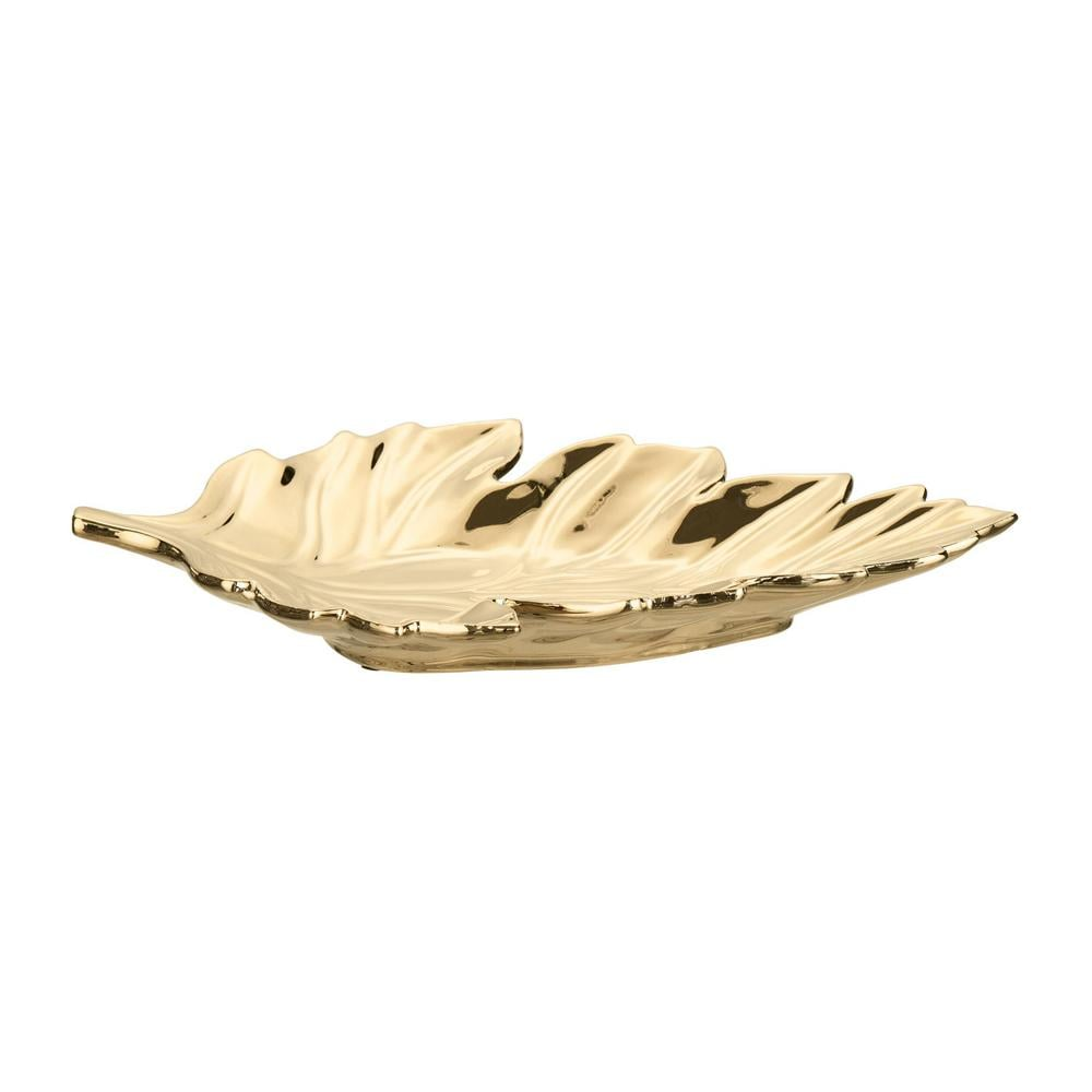Home Decorators Collection Gold Ceramic Decorative Leaf Tray