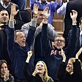 Tom Hanks and Brian Williams were really feeling the hockey game between the Boston Bruins and New York Rangers in NYC on Wednesday.
