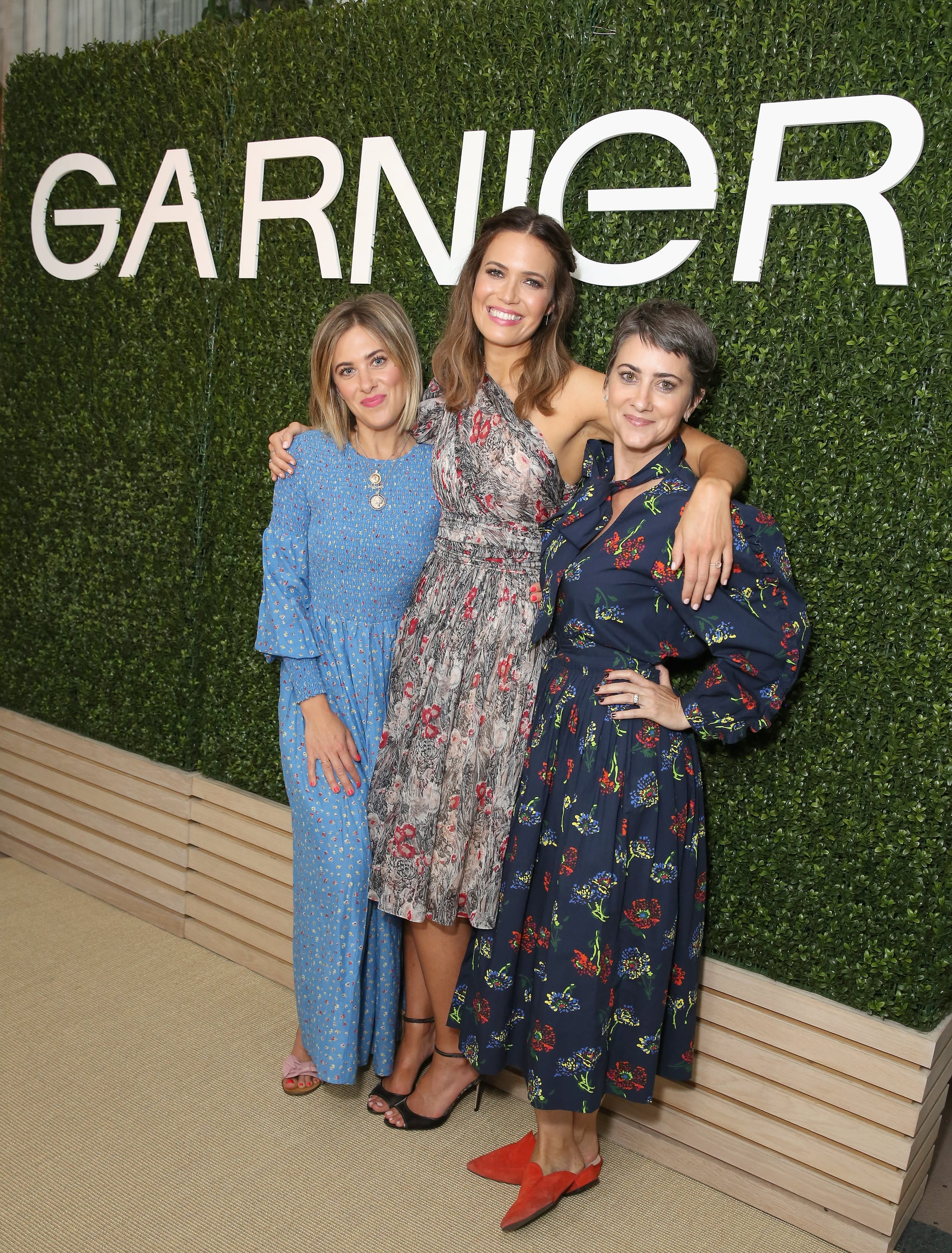 WEST HOLLYWOOD, CA - MAY 03:  (L-R) Ashley Streicher, Mandy Moore and Jenn Streicher attend a 'Girls' Night In' hosted by Mandy Moore and Garnier at Hills Penthouse on May 3, 2018 in West Hollywood, California.  (Photo by Rachel Murray/Getty Images for Garnier)