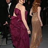 Jennifer Garner and Jessica Chastain got ready to present backstage at the Oscars.
